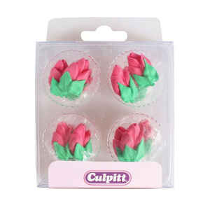 Bocciolo di Rosa color Rosa in zucchero 12 Pz Ø 2.5 cm Culpitt
