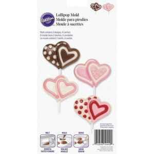 Stampo in Plastica Lecca Lecca Cuore Doppio Candy e Choco Wilton