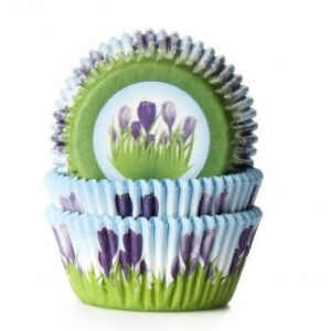 Pirottini - Cupcake in carta forno Tulipani Viola 5 cm House of Marie 50 Pz