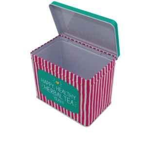 Barattolo porta tè rettangolare a cerniere Herbal Tea in Latta 15,7 x 10,2 x 13 cm