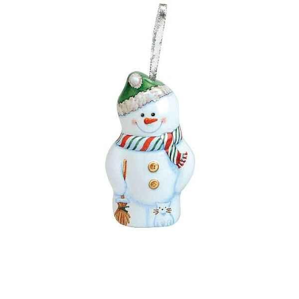 Decorazione per Albero di Natale Snowman in Latta 12 x 6,6 cm