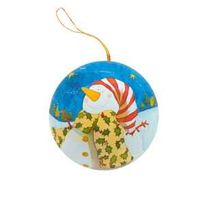 """Pallina di Natale """"Snowman"""" in Latta Agrifoglio"""