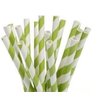 Cake Pops Straws Stripes Green 20 Pz House of Marie