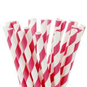 Cake Pops Straws Stripes Fucsia Rink 20 Pz House of Marie