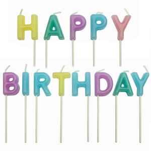 Candeline Happy Birthday Colori Pastello 13 Pz PME