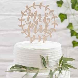 Cake Topper in legno Ginger Ray Mr & Mrs Beautiful Botanics