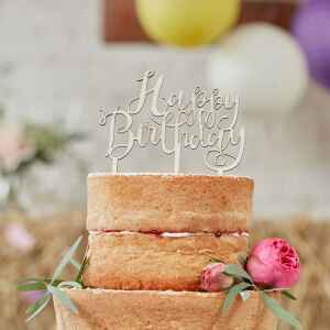 Ginger Ray Wooden Cake Topper Happy Birthday Boho