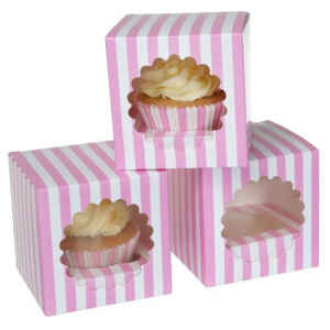 1 Cupcake Box a righe Rosa 3 Pz House of Marie