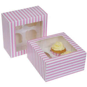 4 Cupcake Box a righe Rosa 2 Pz House of Marie