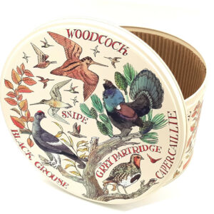 Scatola di latta rotonda grande Game Birds Diametro 24 cm
