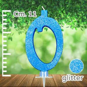 Candelina Azzurra Numero 0 Glitterata