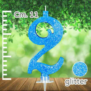 Candelina Azzurra Numero 2 Glitterata