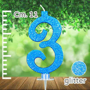 Candelina Azzurra Numero 3 Glitterata