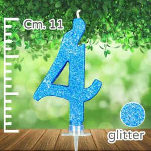 Candelina Azzurra Numero 4 Glitterata