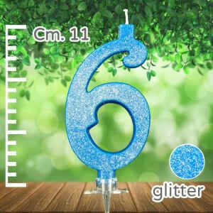 Candelina Azzurra Numero 6 Glitterata