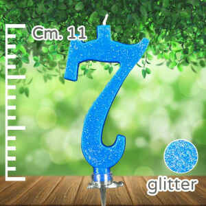 Candelina Azzurra Numero 7 Glitterata