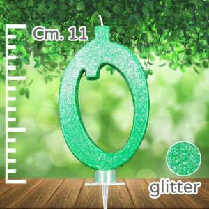 Candelina Verde Numero 0 Glitterata