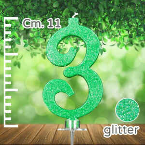 Candelina Verde Numero 3 Glitterata