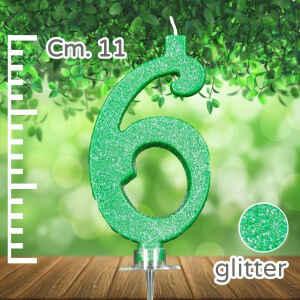Candelina Verde Numero 6 Glitterata