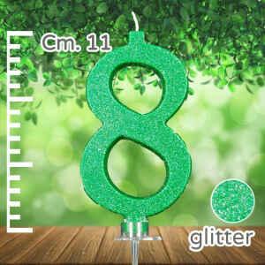 Candelina Verde Numero 8 Glitterata