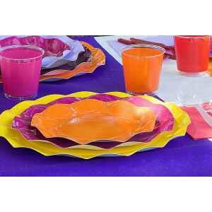 Piatti Piani di Carta a Petalo Arancione 27 cm Extra
