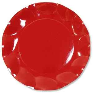 Piatti Piani di Carta a Petalo Rosso 27 cm Extra