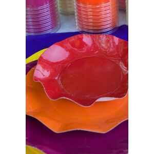 Piatti Fondi di Carta a Petalo Rosso 24 cm Extra
