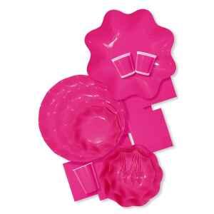 Piatti Piani di Carta a Petalo Rosa Pink 24 cm Extra