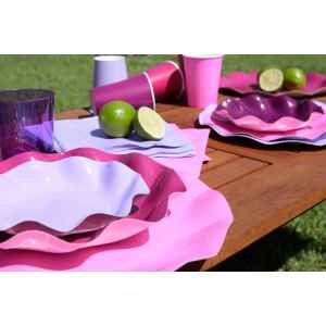 Piatti Fondi di Carta a Petalo Rosa Pink 24 cm Extra