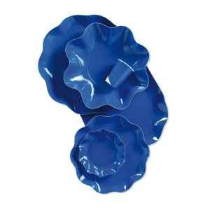 Piatti Piani di Carta a Petalo Blu Cobalto 24 cm Extra