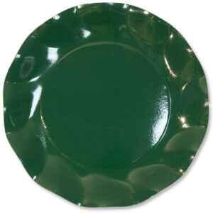 Piatti Piani di Carta a Petalo Verde Scuro 24 cm Extra