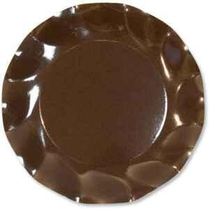 Piatti Piani di Carta a Petalo Marrone Cioccolato 27 cm Extra