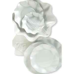 Piatti Piani di Carta a Petalo Bianco Perlato 27 cm Extra