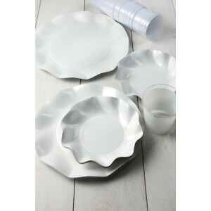 Piatti Fondi di Carta a Petalo Bianco Perlato 24 cm Extra