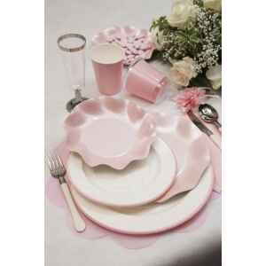 Piatti Fondi di Carta a Petalo Rosa Perlato 18,5 cm Extra