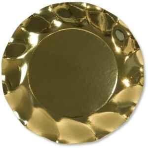 Piatti Piani di Carta a Petalo Oro Metallizzato Lucido 21 cm Extra