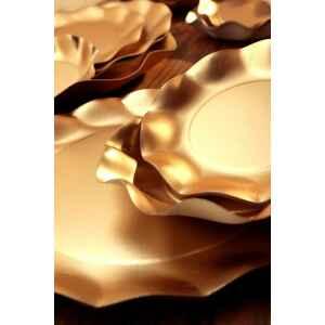 Piatti Piani di Carta a Petalo Oro Metallizzato Satinato 21 cm Extra