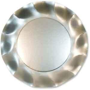 Piatti Piani di Carta a Petalo Argento Metallizzato Satinato 21 cm Extra