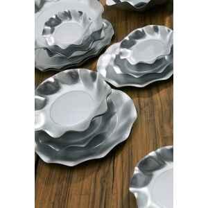 Piatti Fondi di Carta a Petalo Argento Metallizzato Satinato 18,5 cm Extra