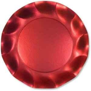 Piatti Piani di Carta a Petalo Rosso Metallizzato Satinato 21 cm Extra