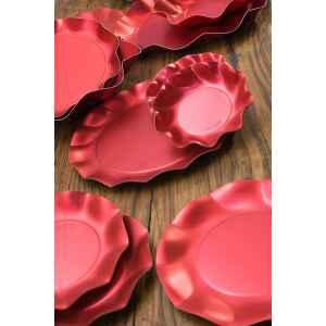 Piatti Fondi di Carta a Petalo Rosso Metallizzato Satinato 18,5 cm Extra