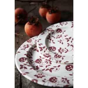 Piatti Piani a Righe Compostabili Natura Rosso 21 cm Extra