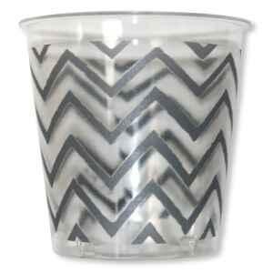 Bicchieri di Plastica 300 cc Chevron Argento 3 confezioni Extra
