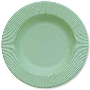 Piatti Fondi di Carta Opaco a Righe Verde Salvia 25,5 cm Extra