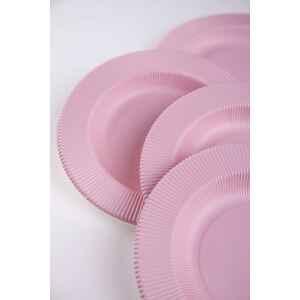 Piatti Fondi di Carta Opaco a Righe Rosa Quarzo 25,5 cm Extra