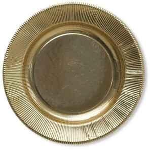 Piatti Piani di Carta a Righe Oro Metallizzato Lucido 21 cm Extra
