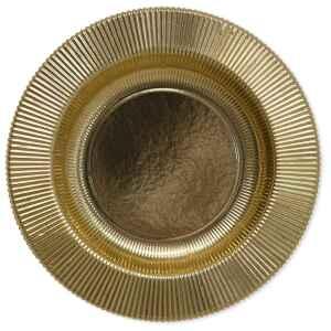 Piatti Fondi di Carta a Righe Oro Metallizzato Lucido 25,5 cm Extra