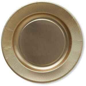 Piatti Piani di Carta a Righe Oro Metallizzato Satinato 21 cm Extra