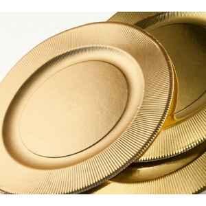 Piatti Fondi di Carta a Righe Oro Metallizzato Satinato 25,5 cm Extra