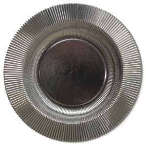 Piatti Fondi di Carta a Righe Argento Metallizzato Lucido 25,5 cm Extra